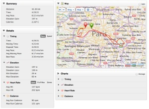 Paris Marathon Garmin data