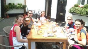 Enjoying our cream tea (and pork pies!) in Romsey