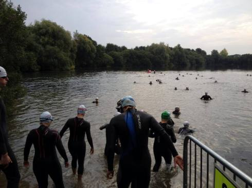 Tentatively entering the water - I'm second from left ©Try Tri
