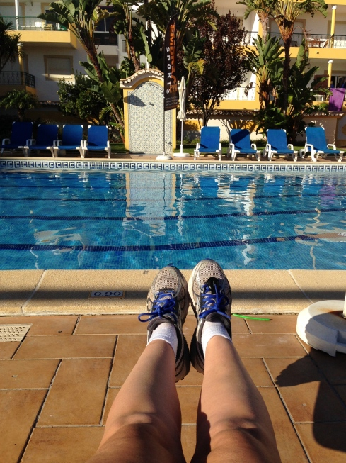 Lounging by the pool after a 5km run to the lighthouse