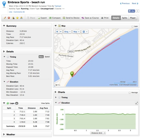 Garmin data for beach run
