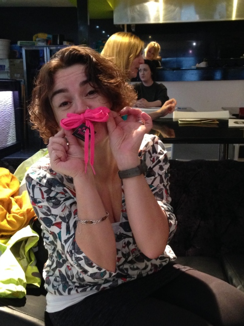 Katherine was delighted to receive her pink shoelaces