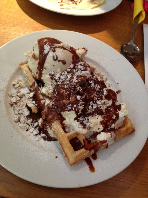 Stuart and I chose a waffle with tiramisu icecream, chocolate sauce, toasted hazel nuts and cream