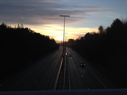 Sunrise over motorway