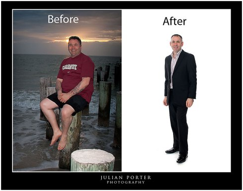 An incredible photo showing Julian after losing nearly 100lbs