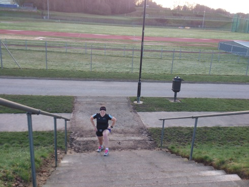 Stretching on my long run with Teri