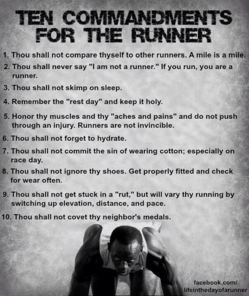 Ten commandments for the runner