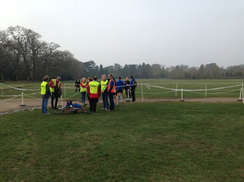 The volunteers have to arrive early to help with parkrun