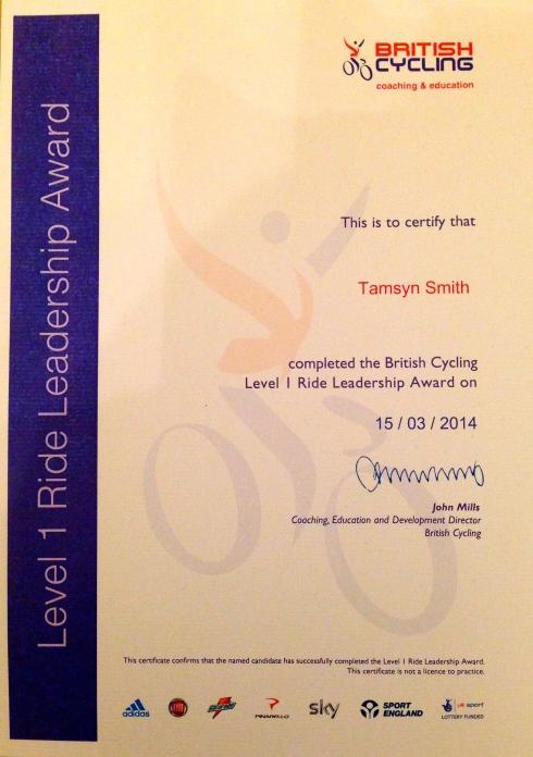 Ride Leadership certificate