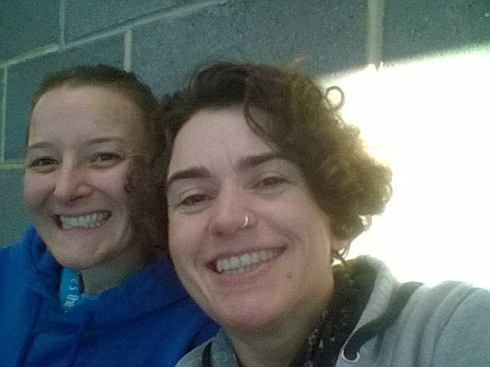 Tamsyn and Katherine before Winchester Duathlon