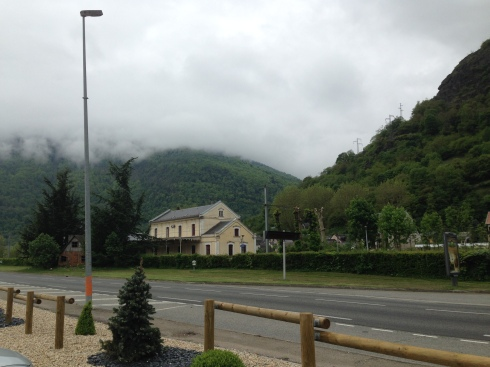 The view of Peyresourde with Luchon station in front of it