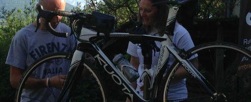 Jose helping to fix my bike