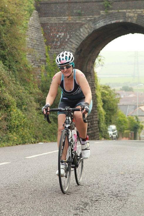 Tamsyn at the top of a hill on the bike ride