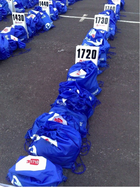 Blue run bags at Challenge Weymouth