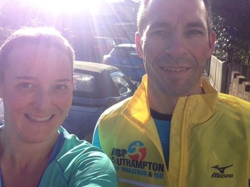 Enjoying the sunshine with Stu at the end of our long run (15.08km)