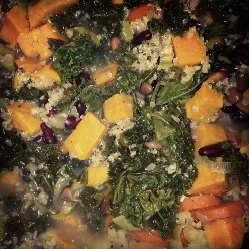 Sweet potato, kale, quinoa and bean stew