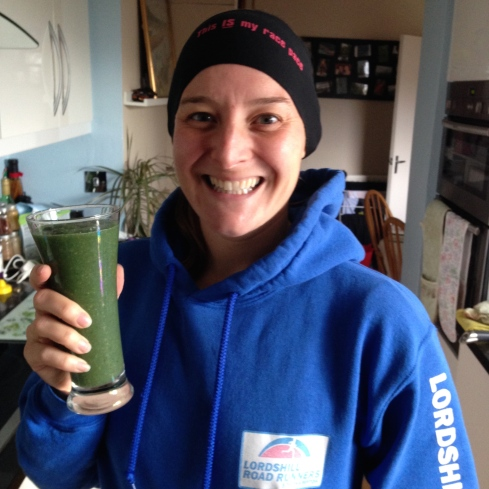 Tamsyn with a glass of smoothie