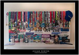 An impressive display of medals that is a couple of metres long