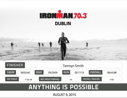 Ironman Dublin 70.3 finisher certificate