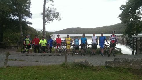 Group photo by Lake Windermere before the start of the ride.