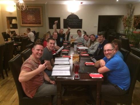 The whole team enjoying our hard-earned dinner
