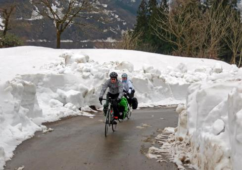 Cycling in Ainokura, Japan in April 2015 ©Jeremy Hollinshead