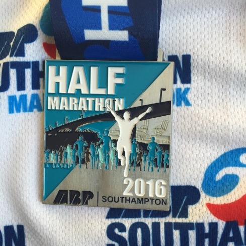 2016 Southampton half marathon medal