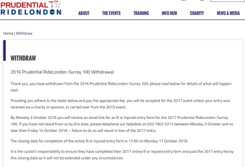 Withdrawal from Ride London