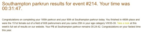 parkrun result 30th July 2016