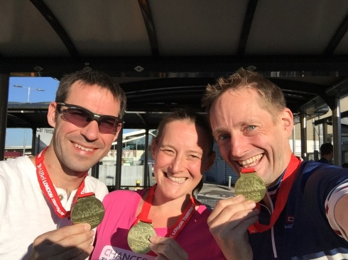 (L-R): Stu, Tamsyn and Jez with their medals