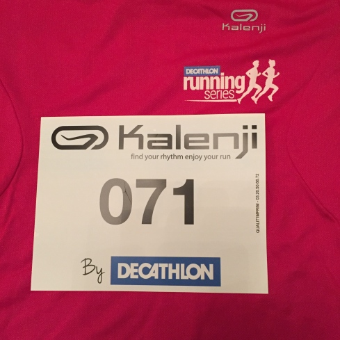 My Decathlon 5k race number