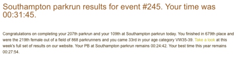 Southampton parkrun February 18th 2017