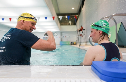 Duncan Goodhew trying to refine Tamsyn's technique