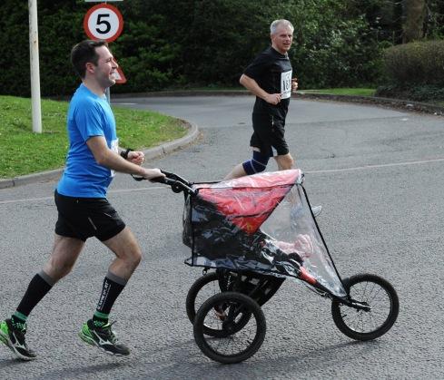 Stuart running with Baby M