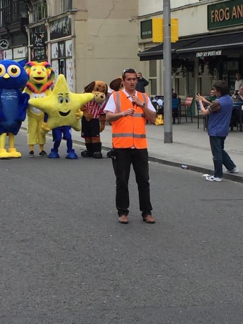 Chris organising the mascot race