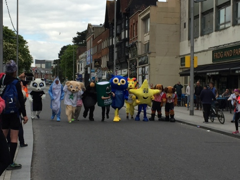 The start of teh mascot race