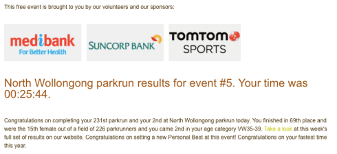2nd parkrun at North Wollongong