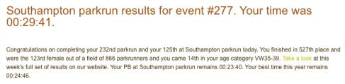 Southampton parkrun 14 Oct 17