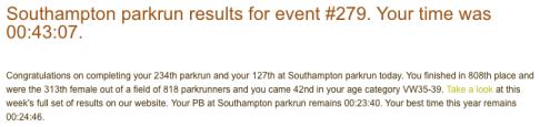 Southampton parkrun 28 Oct 17