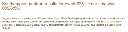 parkrun results 11 Nov 2017