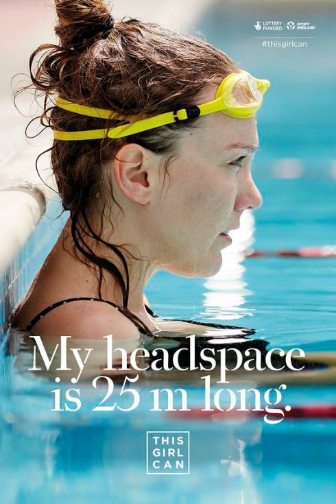 This Girl Can advert showing a woman at one end of a swimming pool with the slogan 'My headspace is 25m long'.